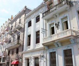 The face of the building where La Gargola Guesthouse is located in Old Havana, Cuba