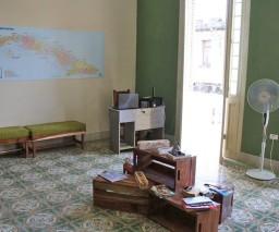 The common room in La Gargola Guesthouse in Old Havana, Cuba