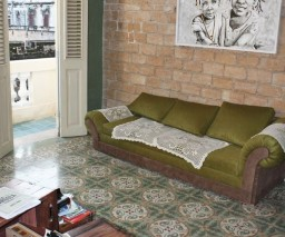 The common room in La Gargola casa in Old Havana, Cuba