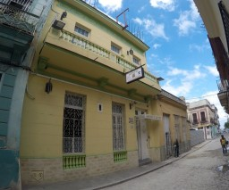 The facade of Vista al Mar Guesthouse in Old Havana, Cuba